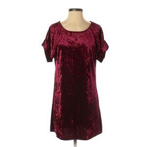 The Vanity Room Burgundy Velvet Casual Dress